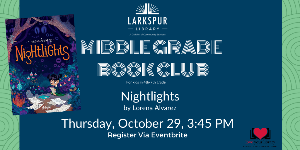 Middle Grade Book Club October 29 at 3:45 pm
